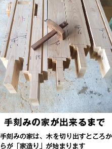 手刻みの家が出来るまで 手刻みの家は、木を切り出すところからが「家造り」が始まります